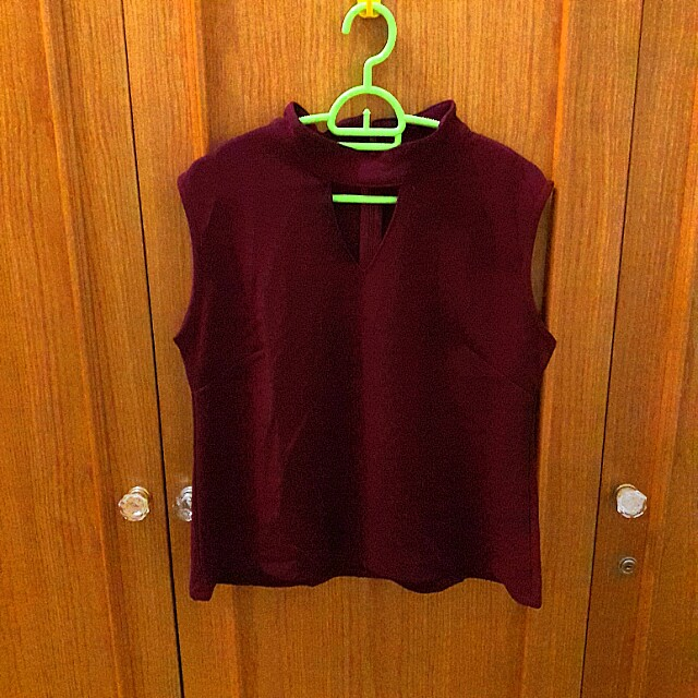OBRAL NEW Maroon Choker Top