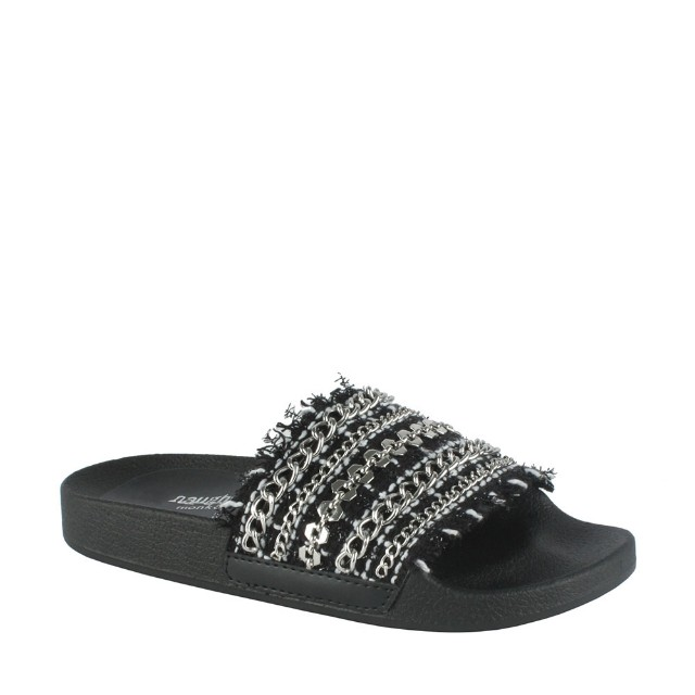 open toe slide chain Stephy sandal chic Leather Brand new comes in a box Size au 9-10
