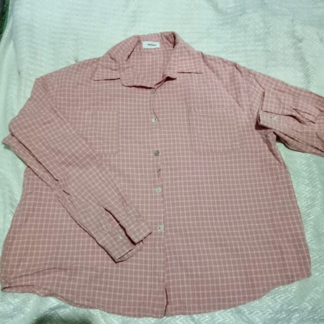 Oversized Pink Checkered Flannel
