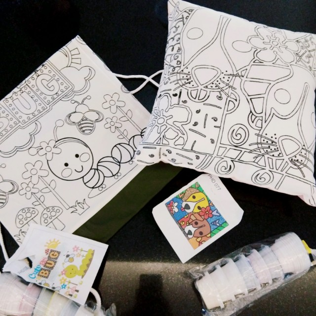 paint your own pillow and duffle bag