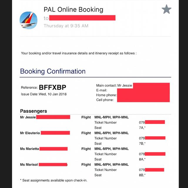PAL tickets to Caticlan (4 pax)