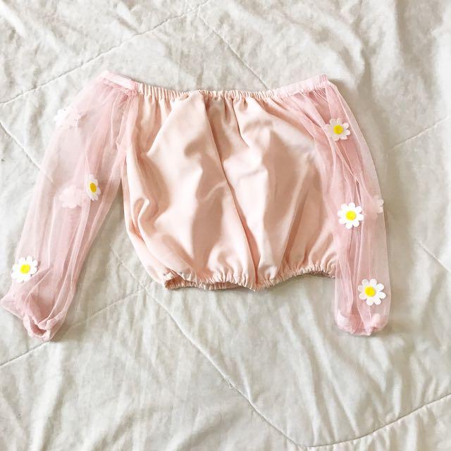 Peach pink cute flower Net top