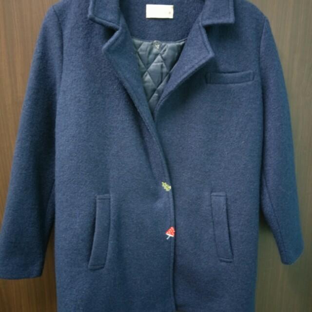 Pink專櫃 深藍色單扣毛呢大衣外套