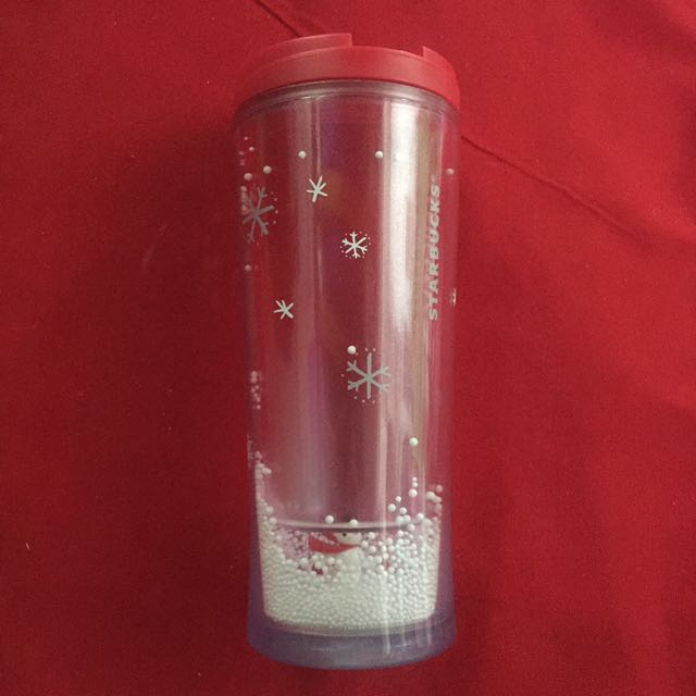 Pink Starbucks Tumbler (with Snowman and Falling Snow)