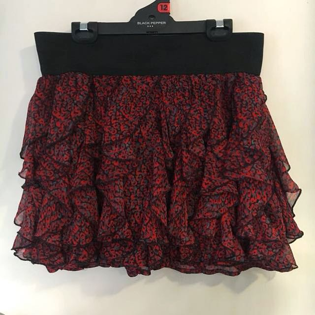 Red and grey skirt