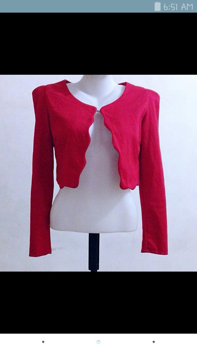 Red croptop blazer
