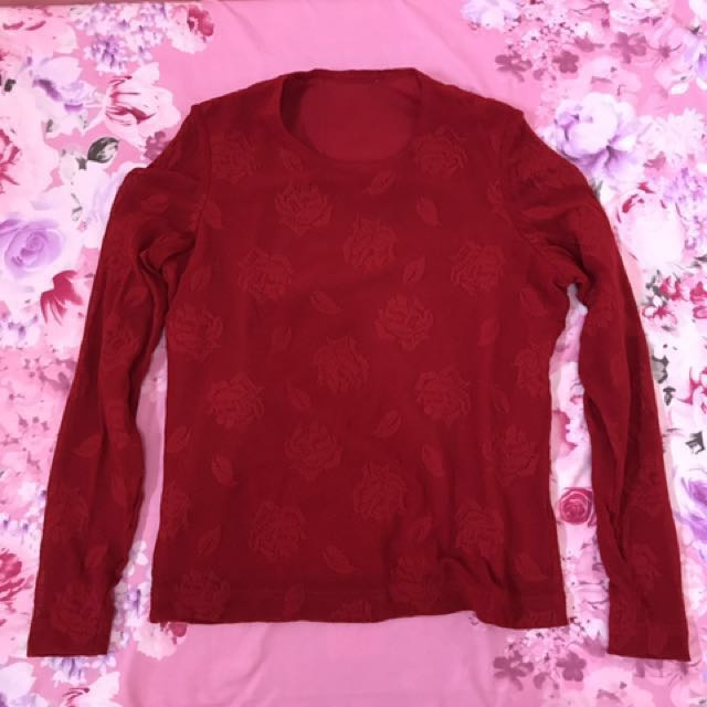 Red Lace Long sleeves Top