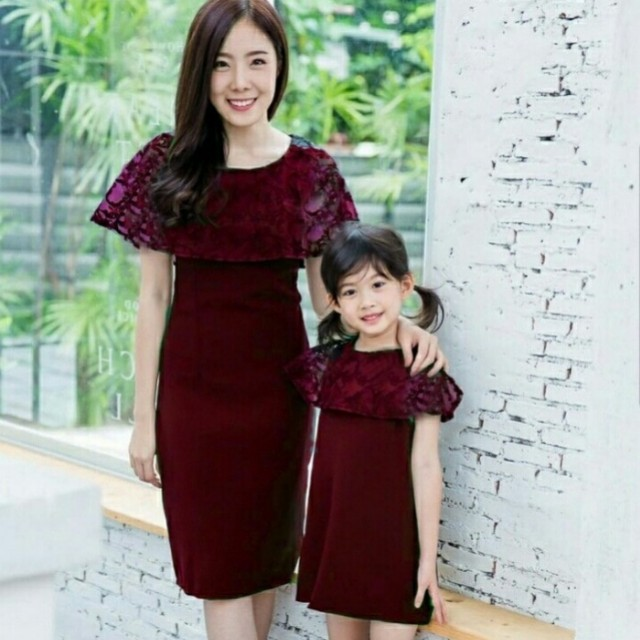 Red Mom kids lace couple set
