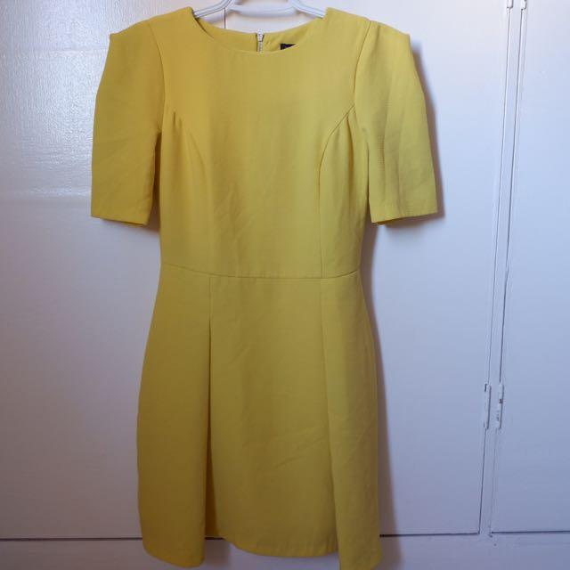 River Island Mustard Office Dress