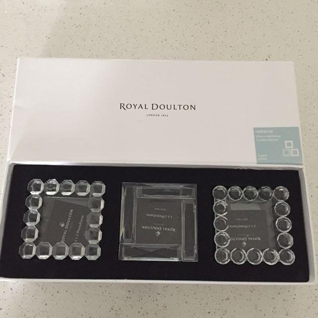 Royal Doulton crystal frames x3