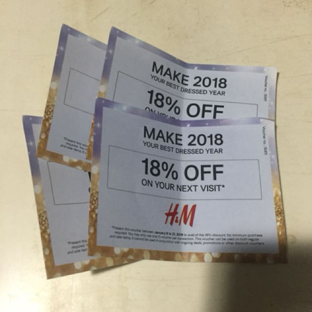 SALE!! H&M 18% OFF Discount Voucher All 4 for 200P only
