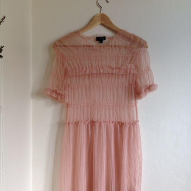 Sheer Baby Pink Top shop Dress