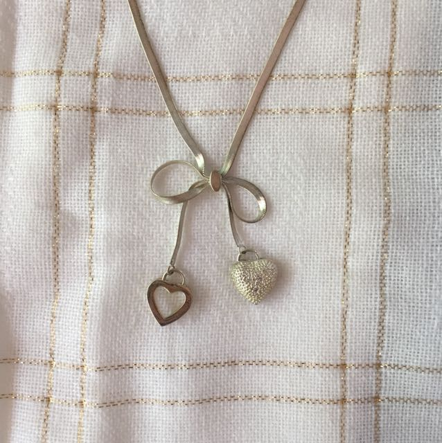 Silver Bow and Hearts Necklace