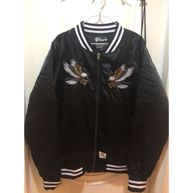 SQUAD 黑色緞面刺繡橫須賀棒球外套
