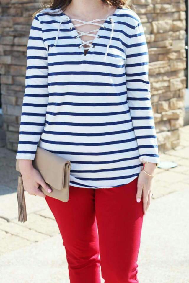 Stripe Top & Red Pants Plus Size Terno