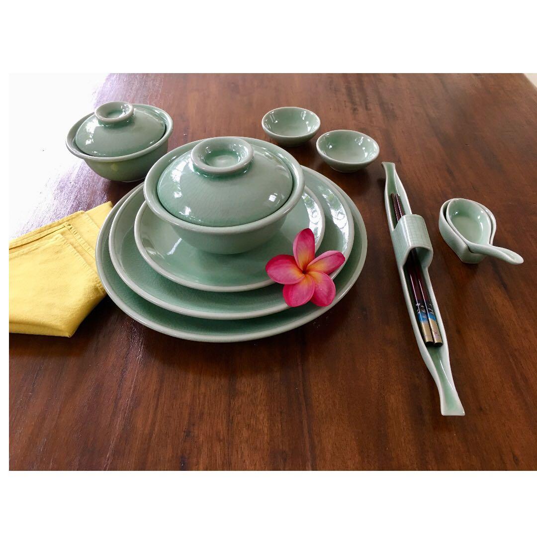 Thai Celadon Dinnerware - Set of 8 (109 pieces), Home Appliances on ...