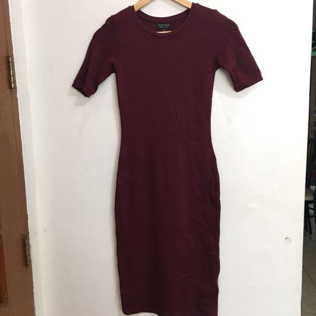 Topshop Maroon Bodycon Dress