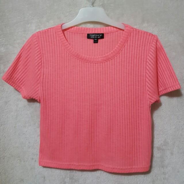 Topshop pink ribbed croptop