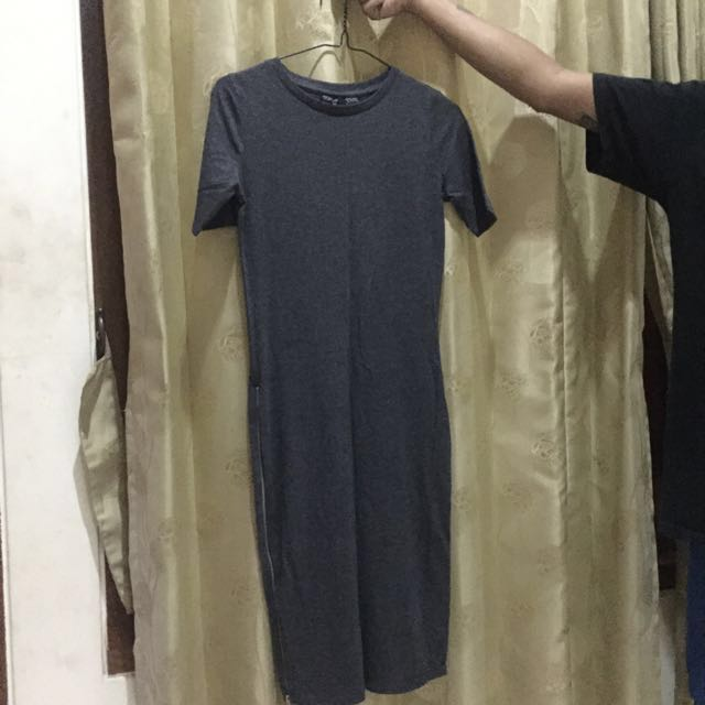 TOPSHOP Tshirt Midi Dress With Zipper