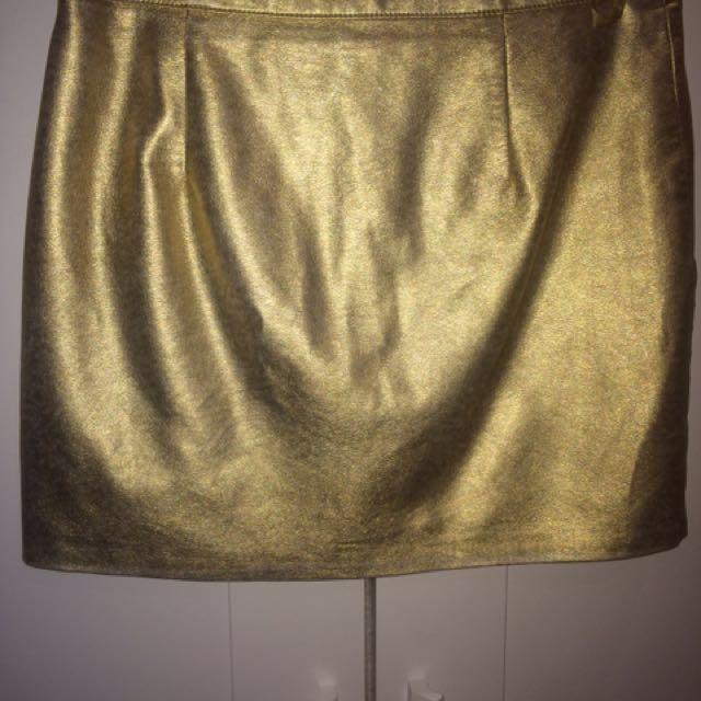 Topshop Woman's Metallic Gold Skirt