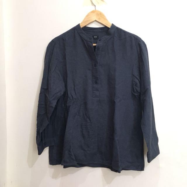 Uniqlo Faded Dark Blue Long Sleeve Blouse