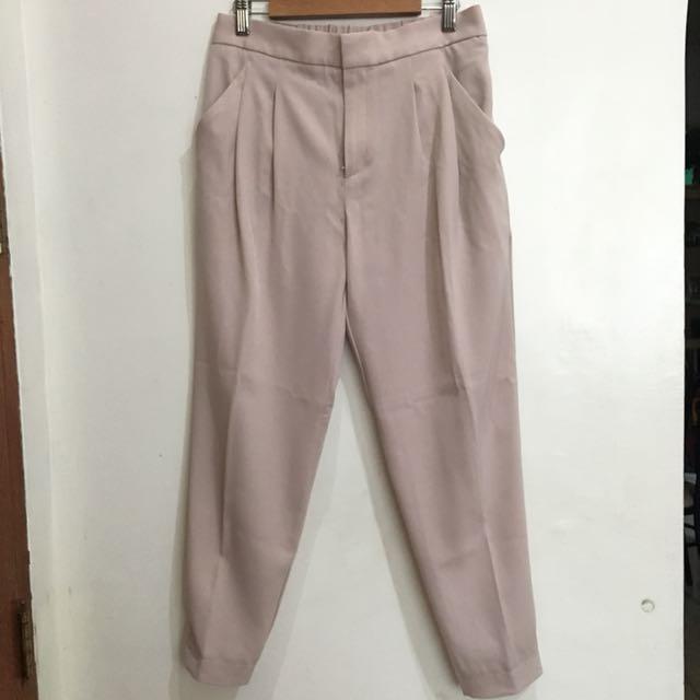 Uniqlo Pale Pink Satin Jogger Pants