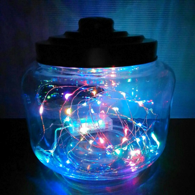 Vintage Lid Cookie Jar with Colour-changing Fairy Light LEDs