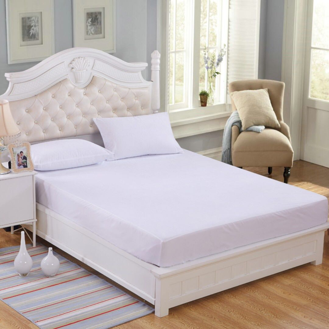 WaterProof Bedsheets And WaterProof Pillowcase  Mattress/Bed Protector  Fitted Set (Include 2 Pillowcases)   WHITE, Furniture, Others On Carousell