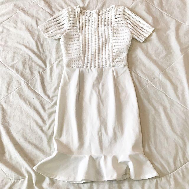 White mermaid sleeve dress