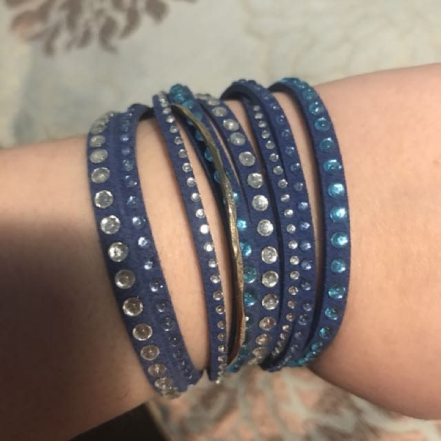 Wrap bracelet with Swarovski crystals