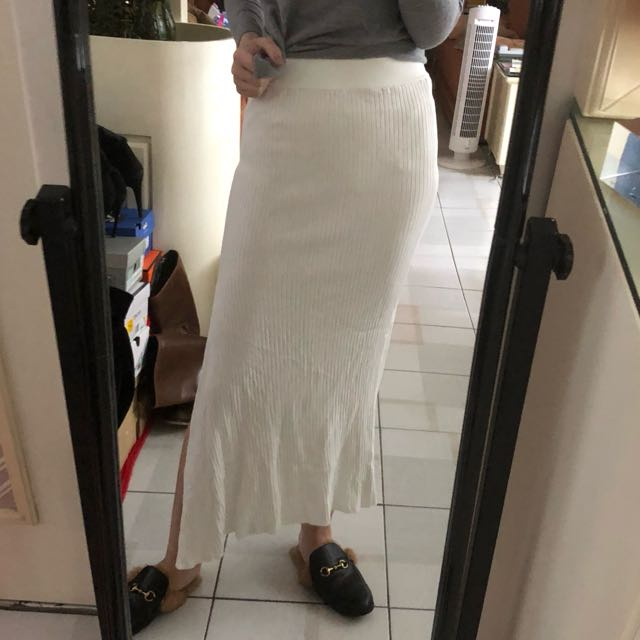 Zara 白色開叉過膝針織裙