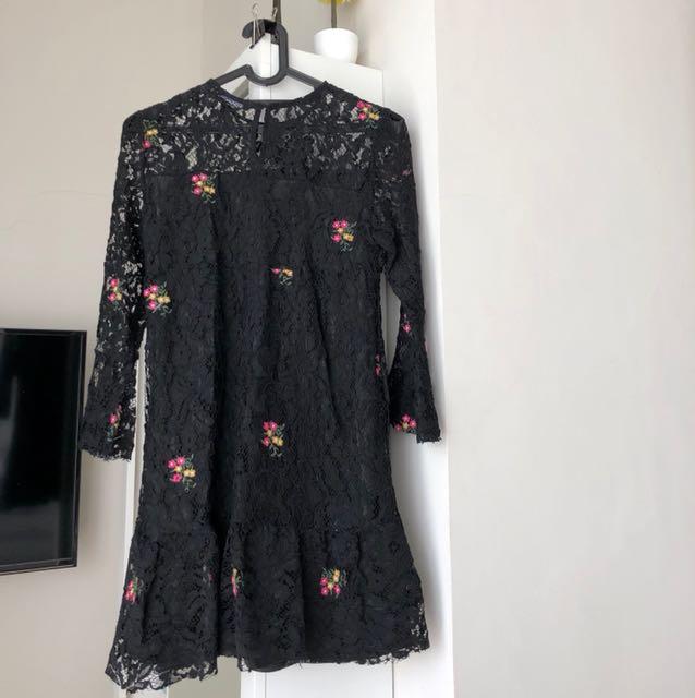 Zara black embroidered dress