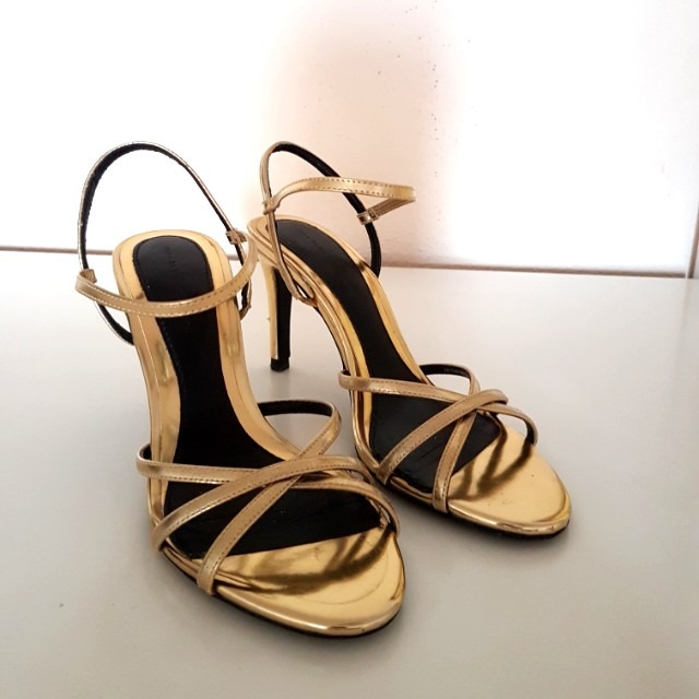 b9650d53076 Zara gold metallic strappy heels