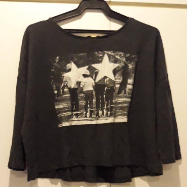 Zara graphic tee crop top