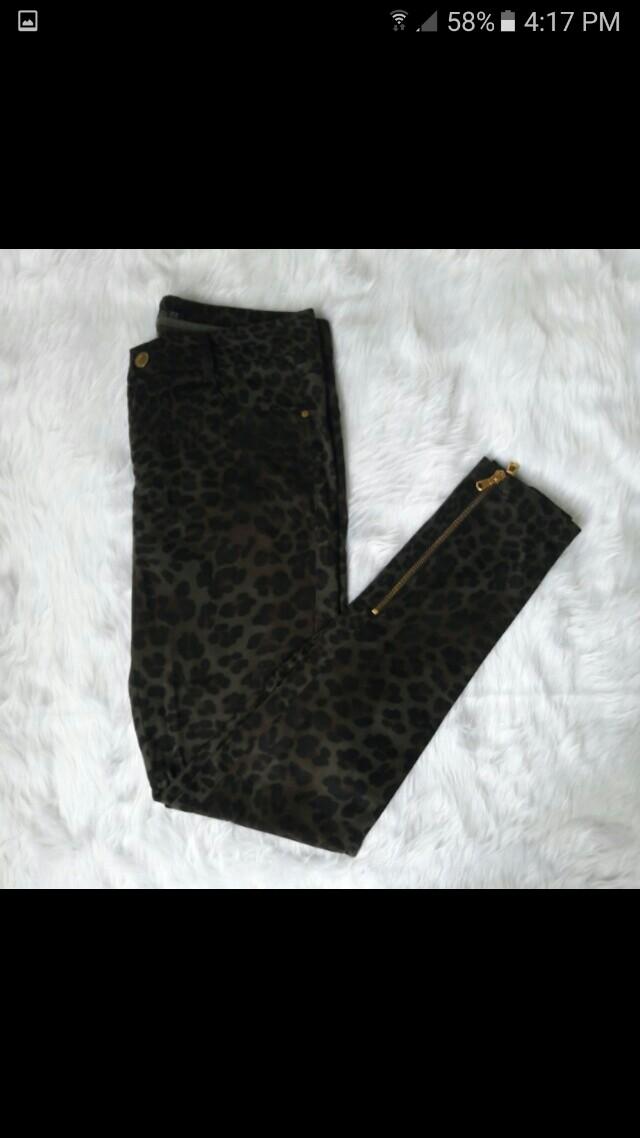 NEW Zara Leopard Print Zipper Trousers