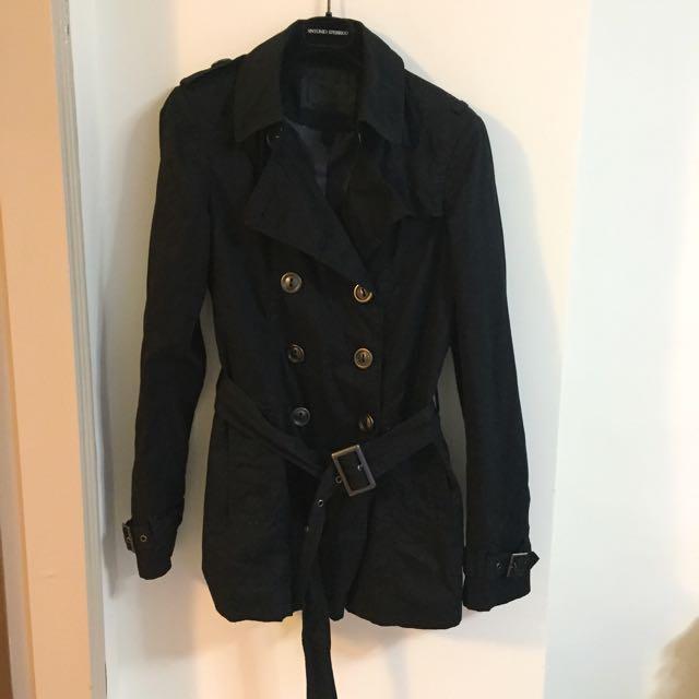 西班牙【ZARA】黑色雙排扣風衣M