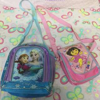 Frozen Lunch bag and Dora the Explorer Sling bag Combo Deal FREE POST