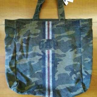 日本版Gap tote bag, 迷彩圖案花 可上膊