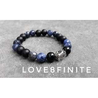 """I am grounded"" 8mm Sodalite + clear quartz + black agate crystal bracelet"