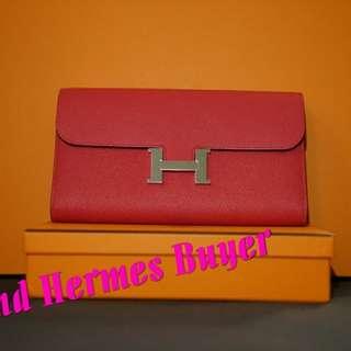 全新Hermes Constance (桃紅色長銀包Full Set)