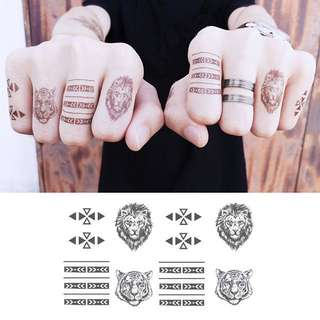 BN Instock Temporary Tattoo Temp Tattoo Hands Fingers Nature Wild Lion Tiger