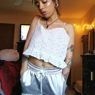 Forever 21 HOLY girl frill spaghetti crop top