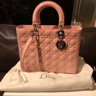 Authentic Lady Dior Large size in baby pink
