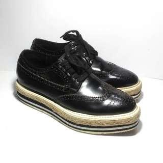 Authentic Prada Broque Wingtip Platform Sneakers