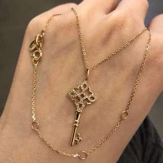18k玖瑰金鏈加18k鑽石鎖匙