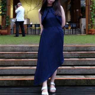 Long Dress Slit Navy Halterneck