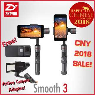 Zhiyun Smooth 3 Smartphone Handheld Gimbal Stabilizer/Free action camera adaptor/ Free Lightning Cap!