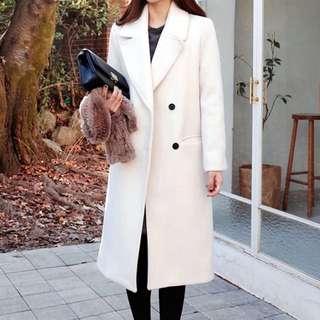 🤩[Premium]韓國大領厚身絨料長外套,少見的白色款,修腰Slim設計 $299