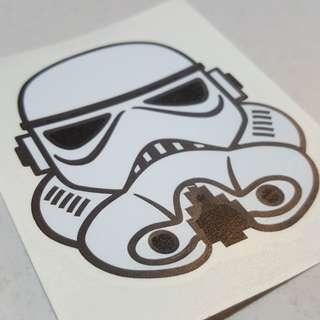 Original Stormtrooper Vinyl Sticker 6.1cm wide by 7cm long