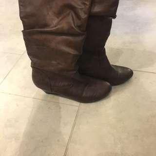 Cognac hidden wedge boots